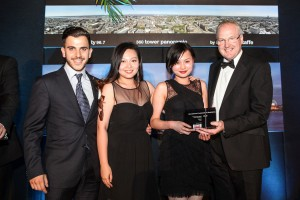 Iliad's Andreas Anastasiou, Dora Yang and Kristina Ho collect the award